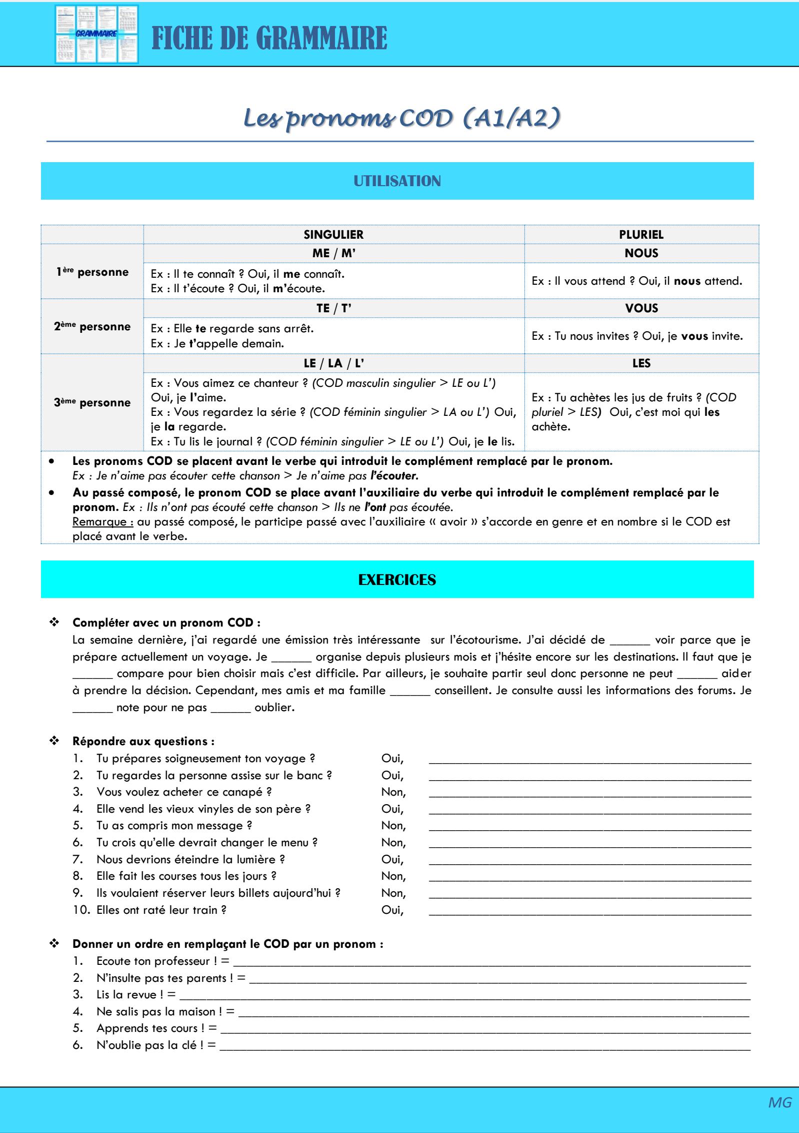 Les pronoms compléments (A1/A2) | Cap sur le FLE